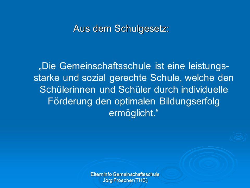 Elterninfo Gemeinschaftsschule Jörg Fröscher (THS) Die Gemeinschaftsschule ist eine leistungs- starke und sozial gerechte Schule, welche den Schülerinnen und Schüler durch individuelle Förderung den optimalen Bildungserfolg ermöglicht.