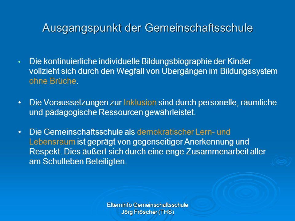 Elterninfo Gemeinschaftsschule Jörg Fröscher (THS) Ausgangspunkt der Gemeinschaftsschule Die kontinuierliche individuelle Bildungsbiographie der Kinder vollzieht sich durch den Wegfall von Übergängen im Bildungssystem ohne Brüche.