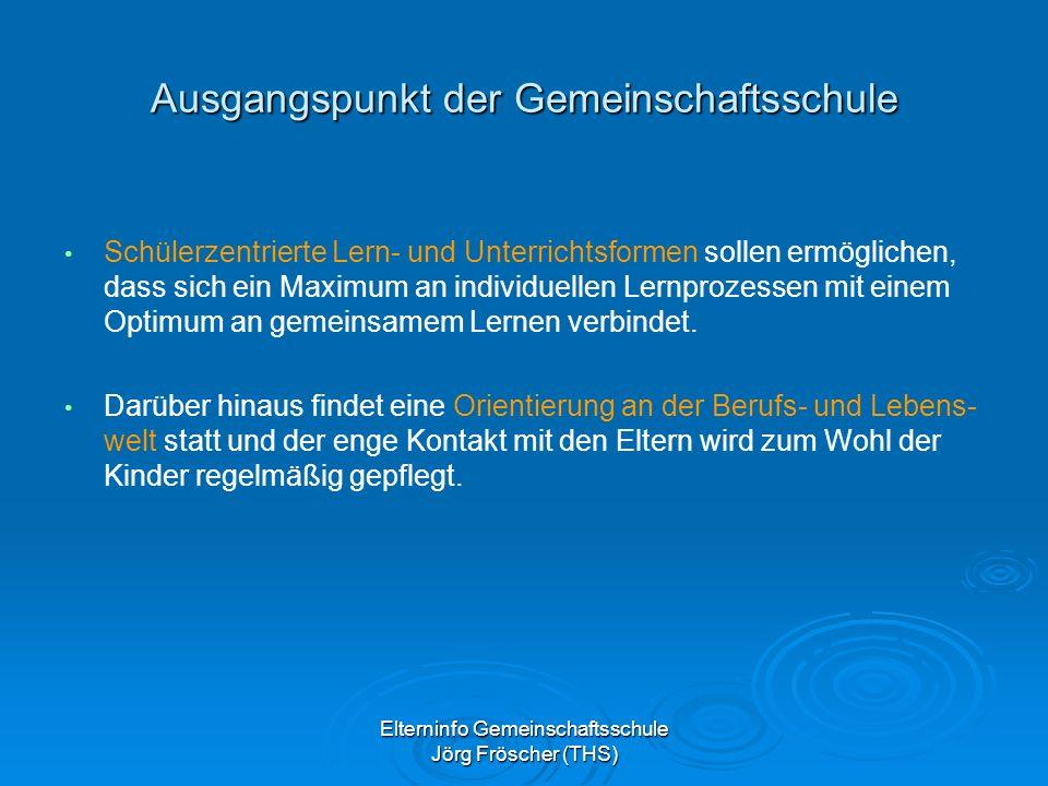 Elterninfo Gemeinschaftsschule Jörg Fröscher (THS) Rahmenbedingungen der Gemeinschaftsschule Die Gemeinschaftsschule ist in der Regel zwei- oder mehrzügig und geht bis Klasse 10 bzw.
