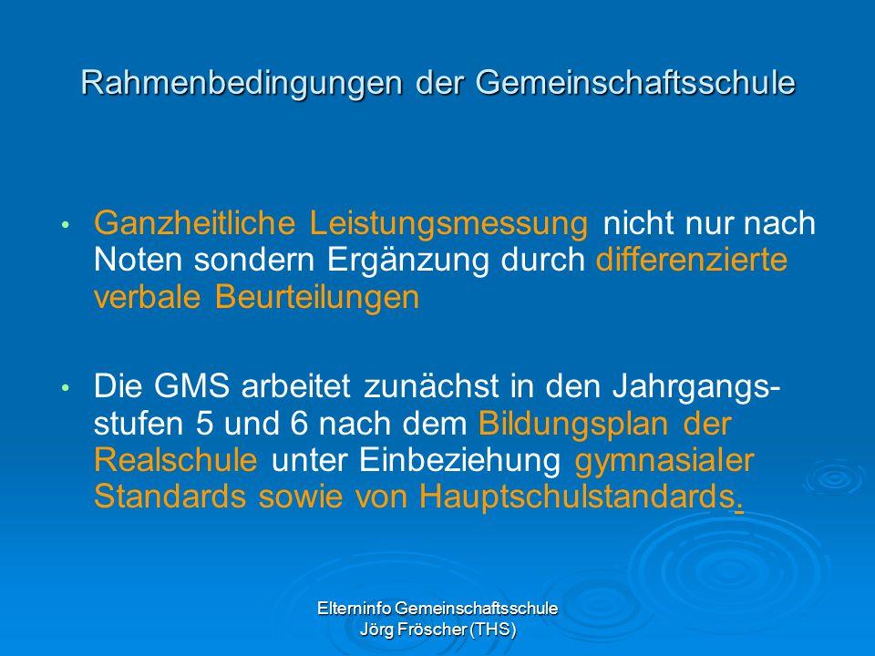 Elterninfo Gemeinschaftsschule Jörg Fröscher (THS) Rahmenbedingungen der Gemeinschaftsschule Ganzheitliche Leistungsmessung nicht nur nach Noten sondern Ergänzung durch differenzierte verbale Beurteilungen Die GMS arbeitet zunächst in den Jahrgangs- stufen 5 und 6 nach dem Bildungsplan der Realschule unter Einbeziehung gymnasialer Standards sowie von Hauptschulstandards.