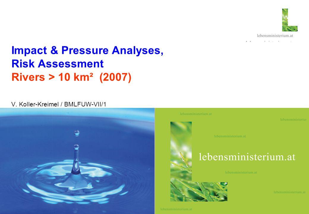 Seite 126.03.2014 Hier steht ein thematisches Foto Impact & Pressure Analyses, Risk Assessment Rivers > 10 km² (2007) V.