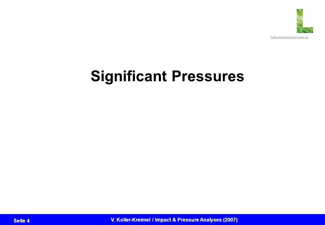 Seite 4 V. Koller-Kreimel / Impact & Pressure Analyses (2007) Significant Pressures