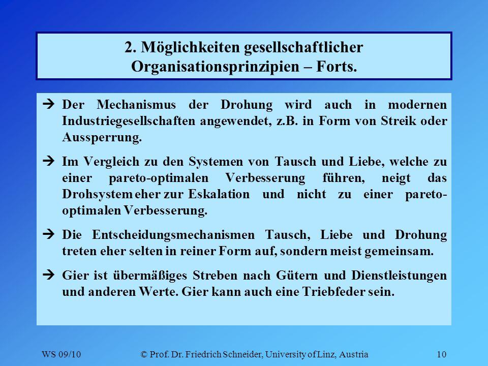 WS 09/10© Prof. Dr. Friedrich Schneider, University of Linz, Austria10 2.