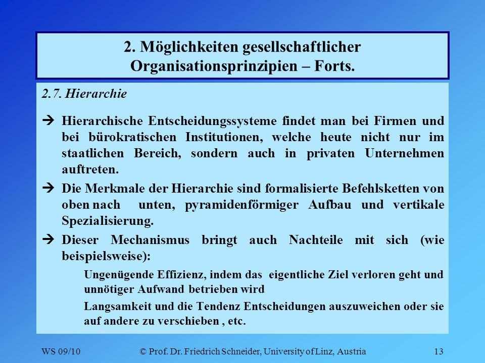 WS 09/10© Prof. Dr. Friedrich Schneider, University of Linz, Austria13 2.