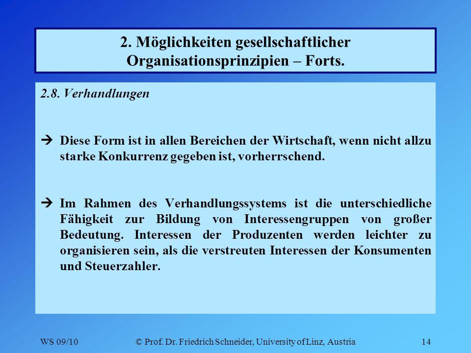 WS 09/10© Prof. Dr. Friedrich Schneider, University of Linz, Austria14 2.