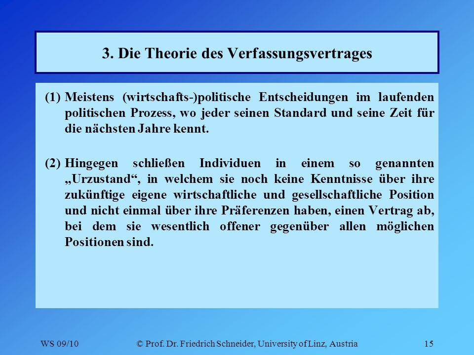WS 09/10© Prof. Dr. Friedrich Schneider, University of Linz, Austria15 3.