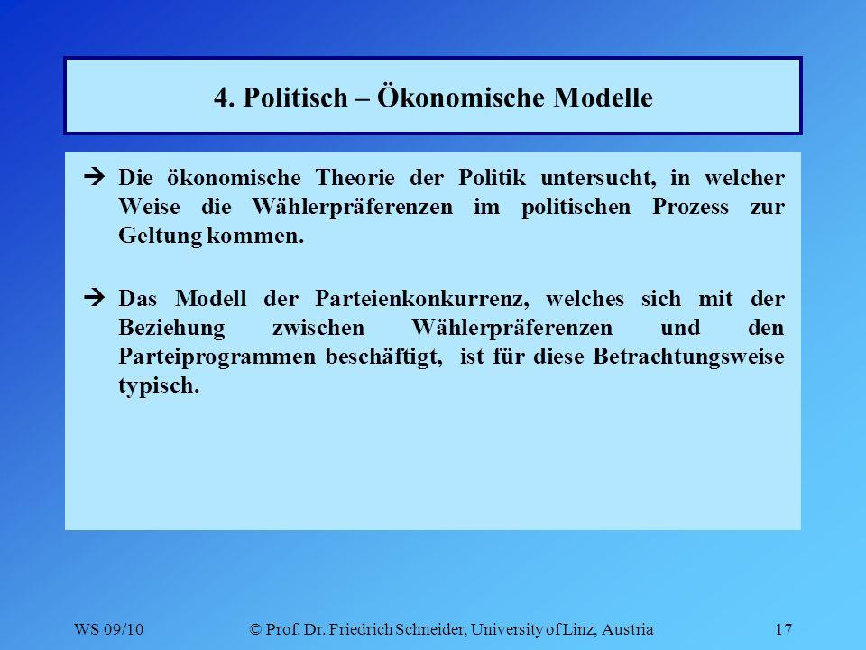 WS 09/10© Prof. Dr. Friedrich Schneider, University of Linz, Austria17 4.