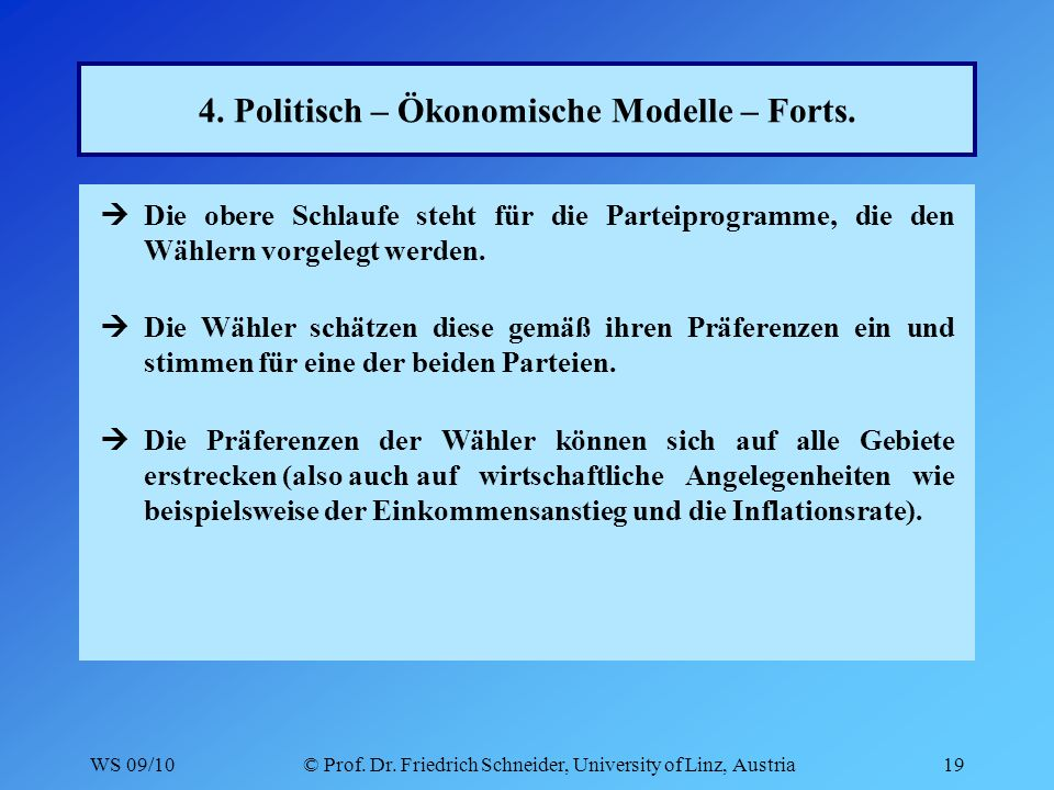 WS 09/10© Prof. Dr. Friedrich Schneider, University of Linz, Austria19 4.