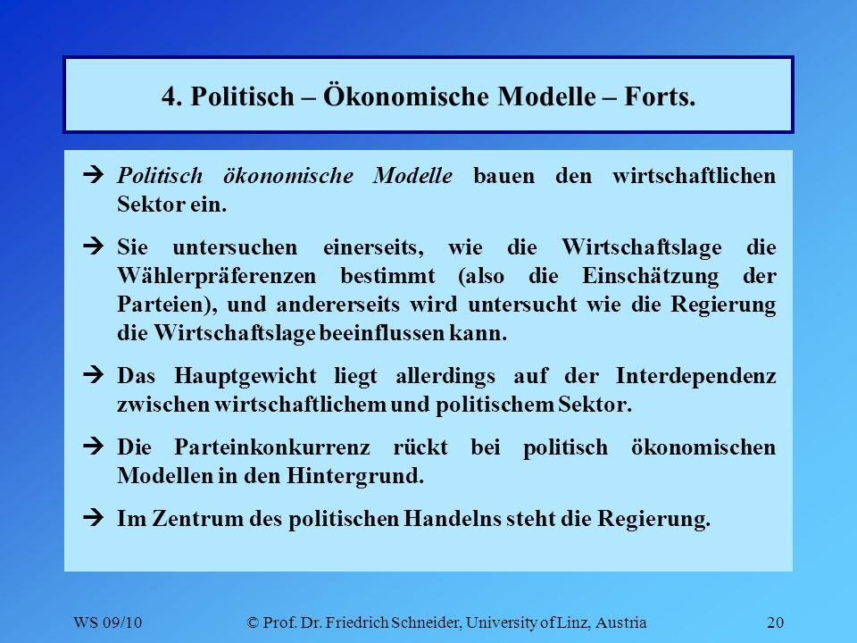 WS 09/10© Prof. Dr. Friedrich Schneider, University of Linz, Austria20 4.
