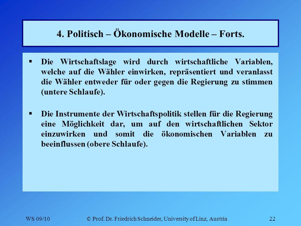WS 09/10© Prof. Dr. Friedrich Schneider, University of Linz, Austria22 4.