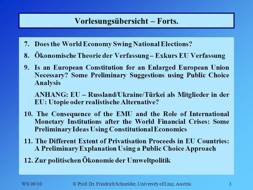 WS 09/10© Prof. Dr. Friedrich Schneider, University of Linz, Austria3 Vorlesungsübersicht – Forts.