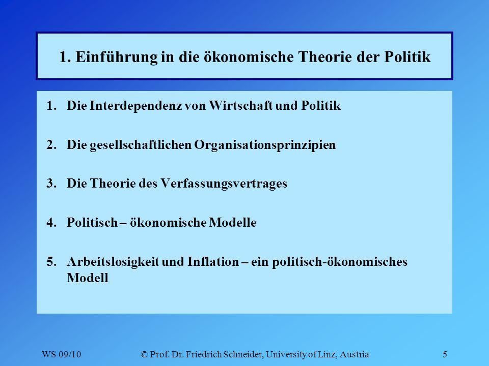 WS 09/10© Prof. Dr. Friedrich Schneider, University of Linz, Austria5 1.