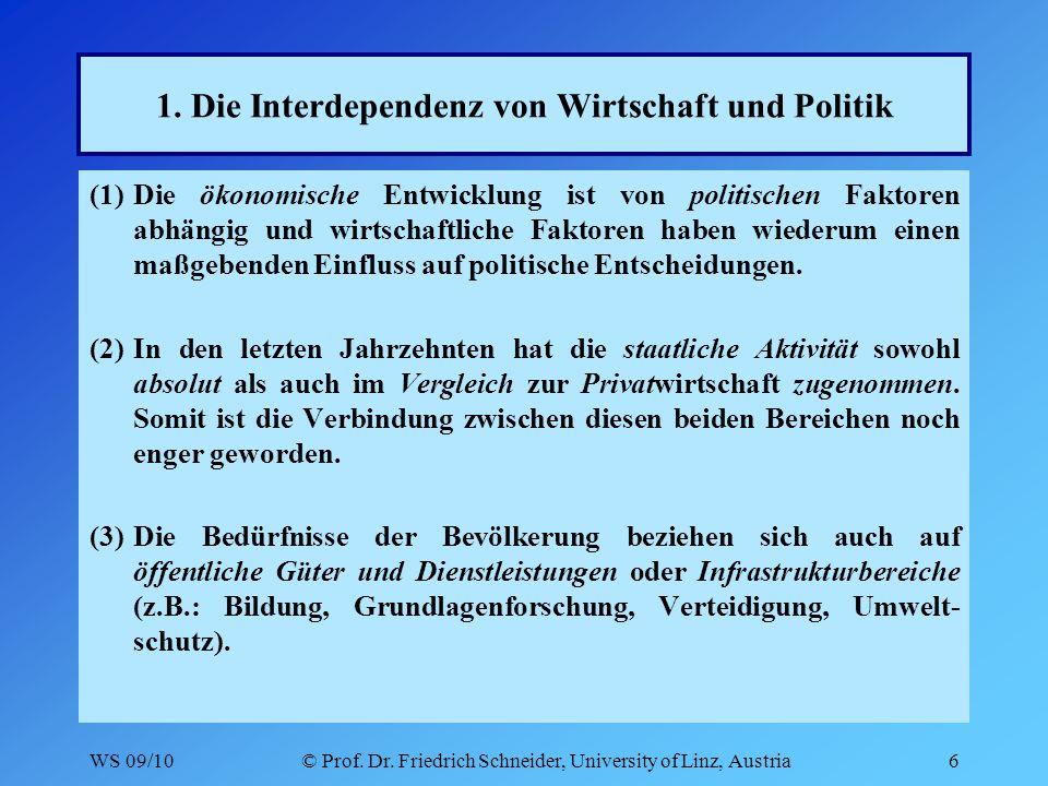 WS 09/10© Prof. Dr. Friedrich Schneider, University of Linz, Austria6 1.
