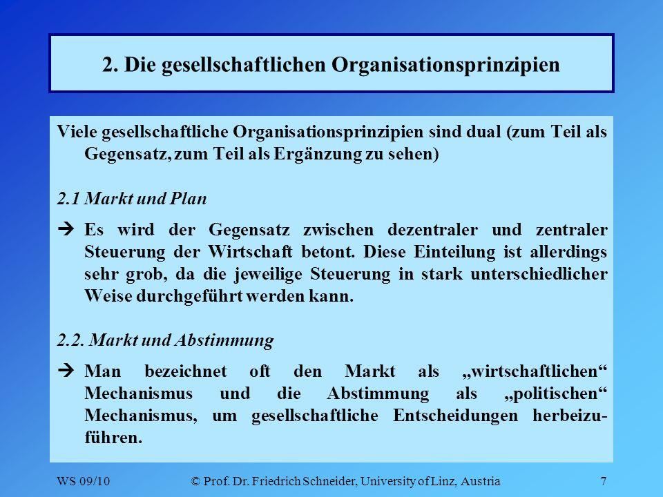 WS 09/10© Prof. Dr. Friedrich Schneider, University of Linz, Austria7 2.