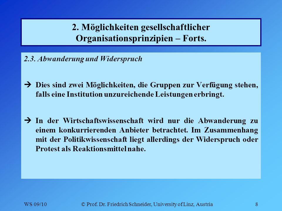 WS 09/10© Prof. Dr. Friedrich Schneider, University of Linz, Austria8 2.