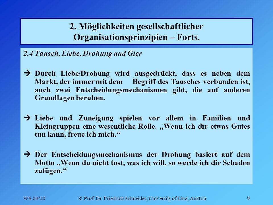 WS 09/10© Prof. Dr. Friedrich Schneider, University of Linz, Austria9 2.