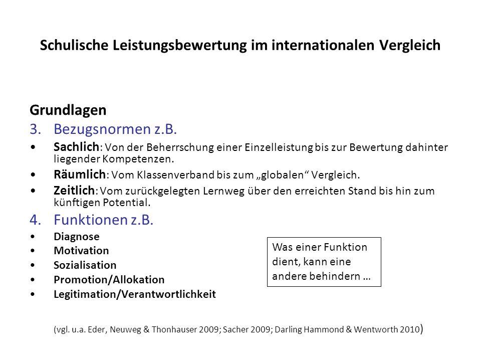 Schulische Leistungsbewertung im internationalen Vergleich Grundlagen 3.Bezugsnormen z.B. Sachlich : Von der Beherrschung einer Einzelleistung bis zur
