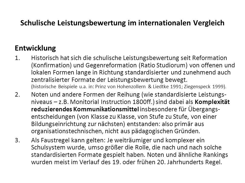 Schulische Leistungsbewertung im internationalen Vergleich Entwicklung 1.Historisch hat sich die schulische Leistungsbewertung seit Reformation (Konfi