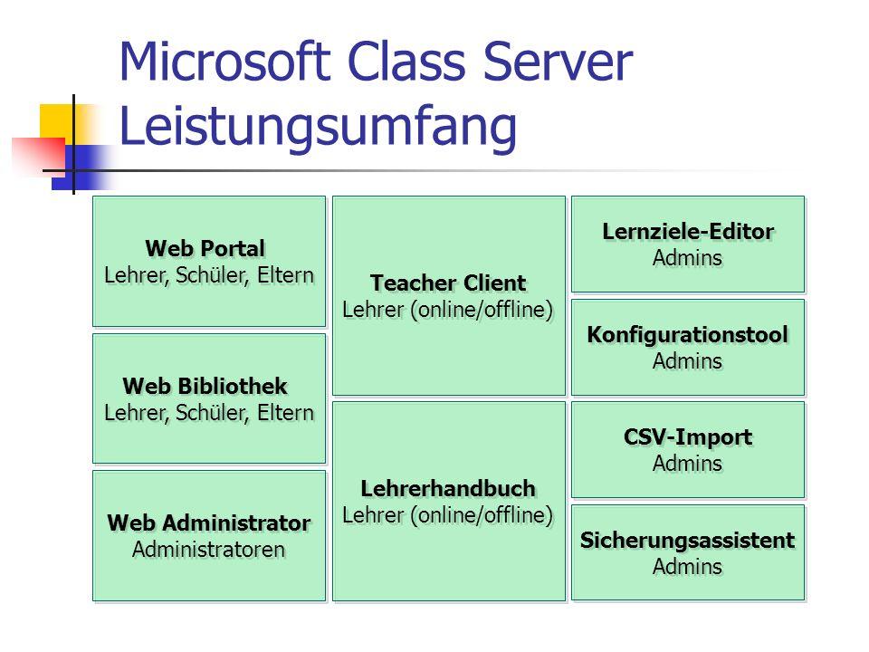 Microsoft Class Server Leistungsumfang Web Portal Lehrer, Schüler, Eltern Web Portal Lehrer, Schüler, Eltern Teacher Client Lehrer (online/offline) Te