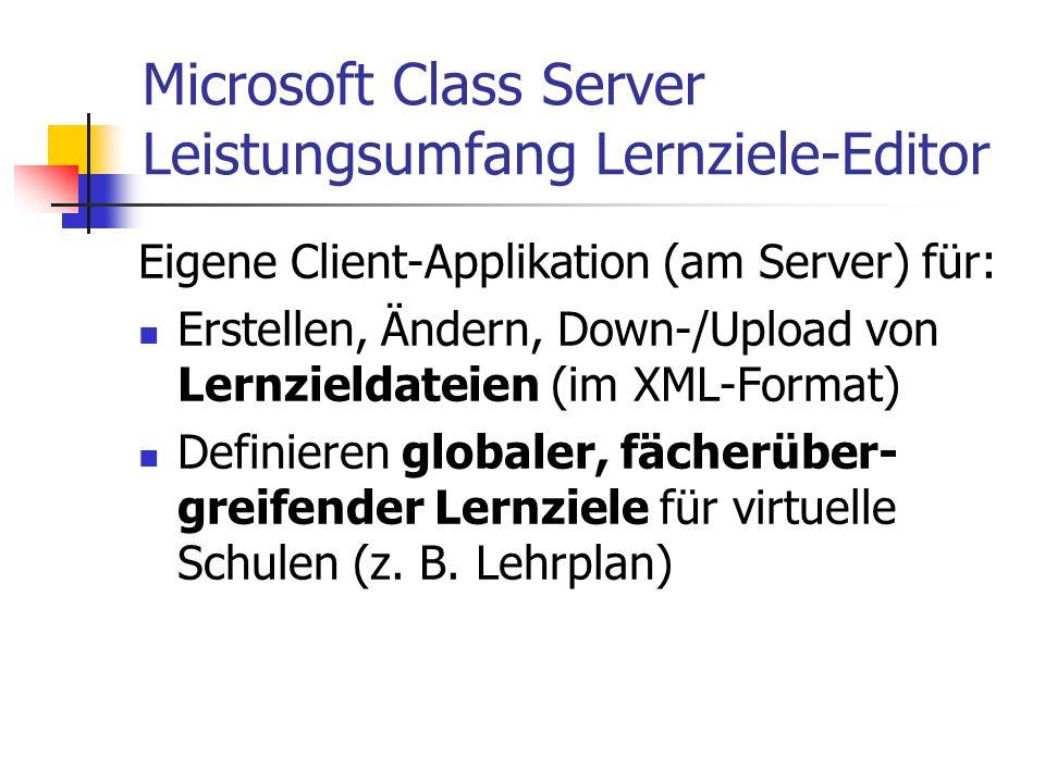 Microsoft Class Server Leistungsumfang Lernziele-Editor Eigene Client-Applikation (am Server) für: Erstellen, Ändern, Down-/Upload von Lernzieldateien