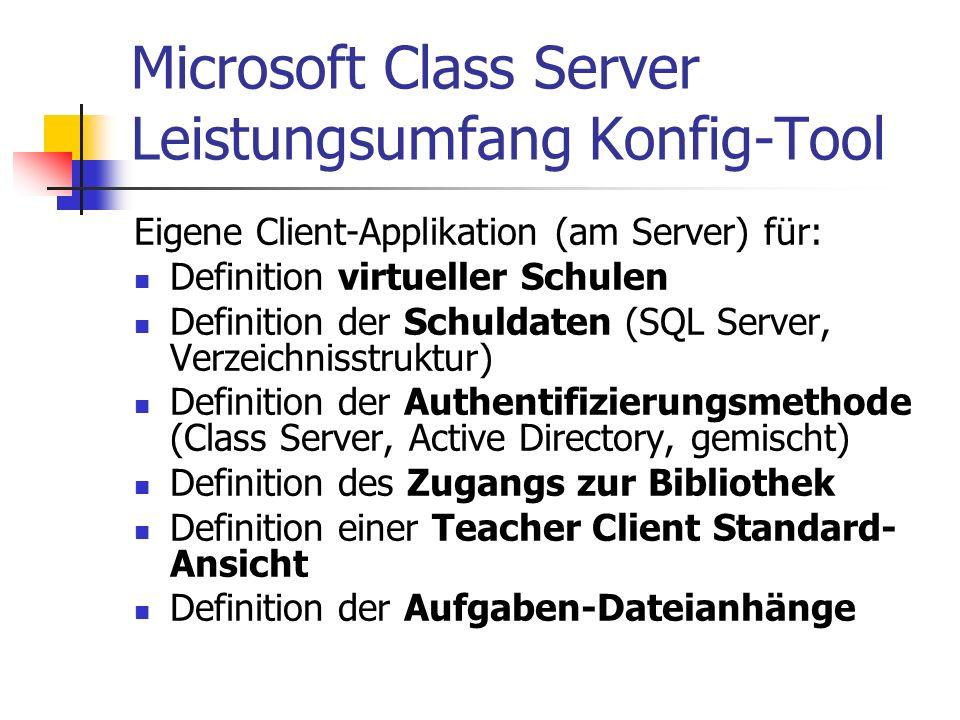 Microsoft Class Server Leistungsumfang Konfig-Tool Eigene Client-Applikation (am Server) für: Definition virtueller Schulen Definition der Schuldaten