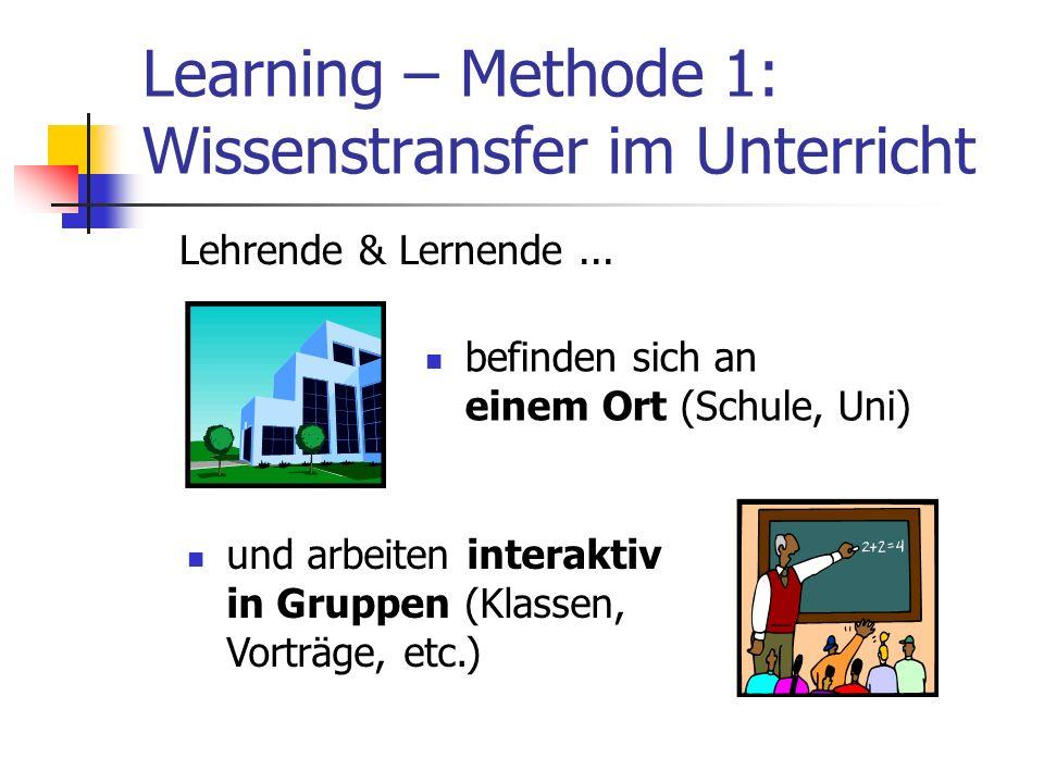 Learning – Methode 1: Wissenstransfer im Unterricht befinden sich an einem Ort (Schule, Uni) und arbeiten interaktiv in Gruppen (Klassen, Vorträge, et