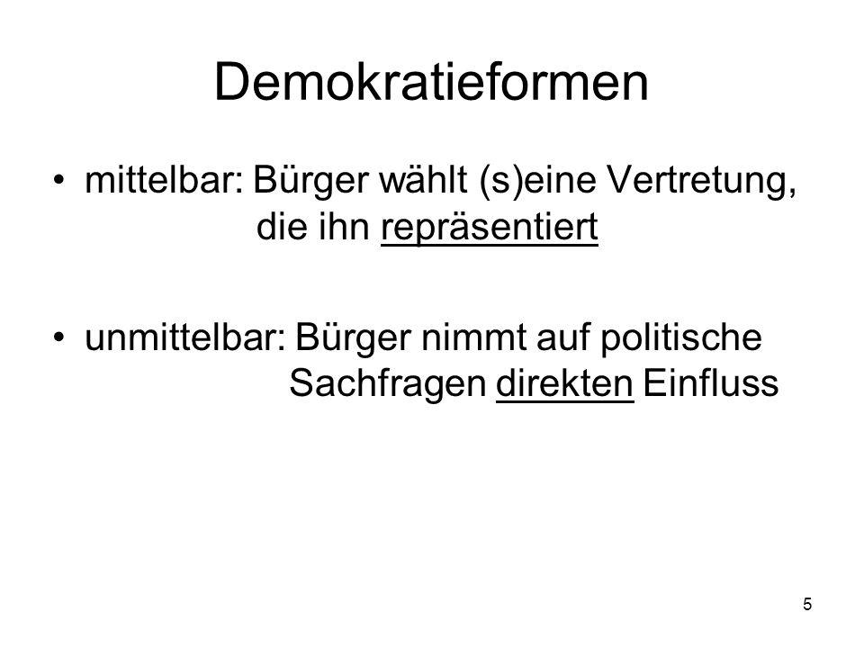 5 Demokratieformen mittelbar: Bürger wählt (s)eine Vertretung, die ihn repräsentiert unmittelbar: Bürger nimmt auf politische Sachfragen direkten Einfluss
