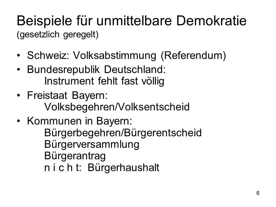 6 Beispiele für unmittelbare Demokratie (gesetzlich geregelt) Schweiz: Volksabstimmung (Referendum) Bundesrepublik Deutschland: Instrument fehlt fast