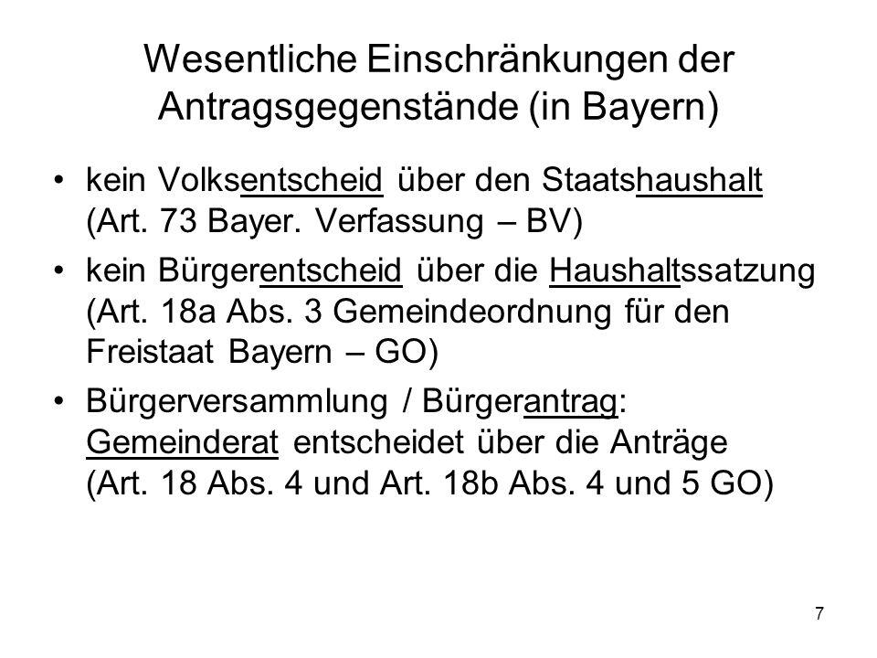 7 Wesentliche Einschränkungen der Antragsgegenstände (in Bayern) kein Volksentscheid über den Staatshaushalt (Art. 73 Bayer. Verfassung – BV) kein Bür