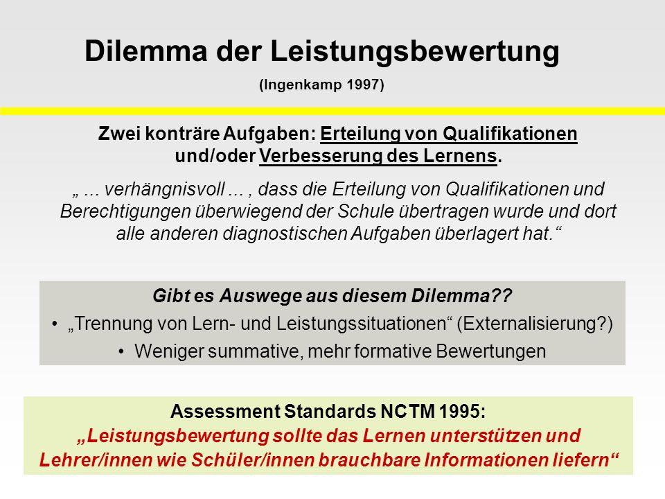 Assessment Standards NCTM 1995: Leistungsbewertung sollte das Lernen unterstützen und Lehrer/innen wie Schüler/innen brauchbare Informationen liefern