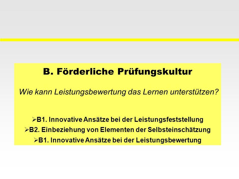 B. Förderliche Prüfungskultur Wie kann Leistungsbewertung das Lernen unterstützen? B1. Innovative Ansätze bei der Leistungsfeststellung B2. Einbeziehu
