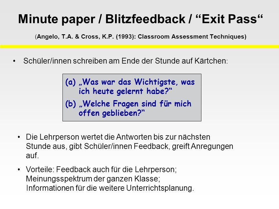 Minute paper / Blitzfeedback / Exit Pass (Angelo, T.A. & Cross, K.P. (1993): Classroom Assessment Techniques) Schüler/innen schreiben am Ende der Stun