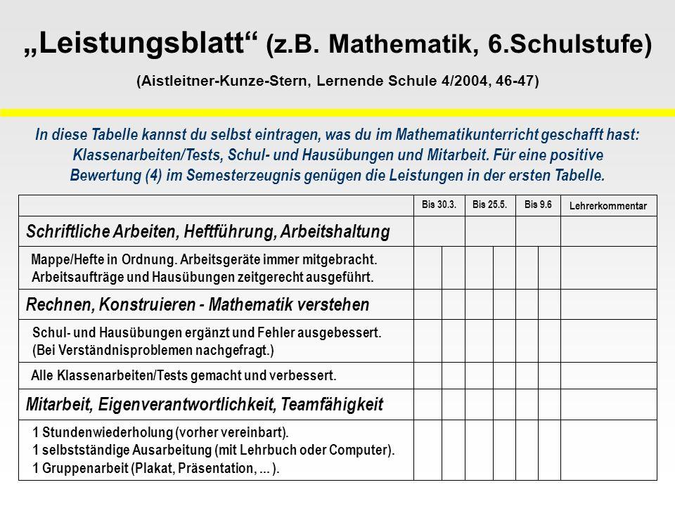 Leistungsblatt (z.B. Mathematik, 6.Schulstufe) (Aistleitner-Kunze-Stern, Lernende Schule 4/2004, 46-47) 1 Stundenwiederholung (vorher vereinbart). 1 s