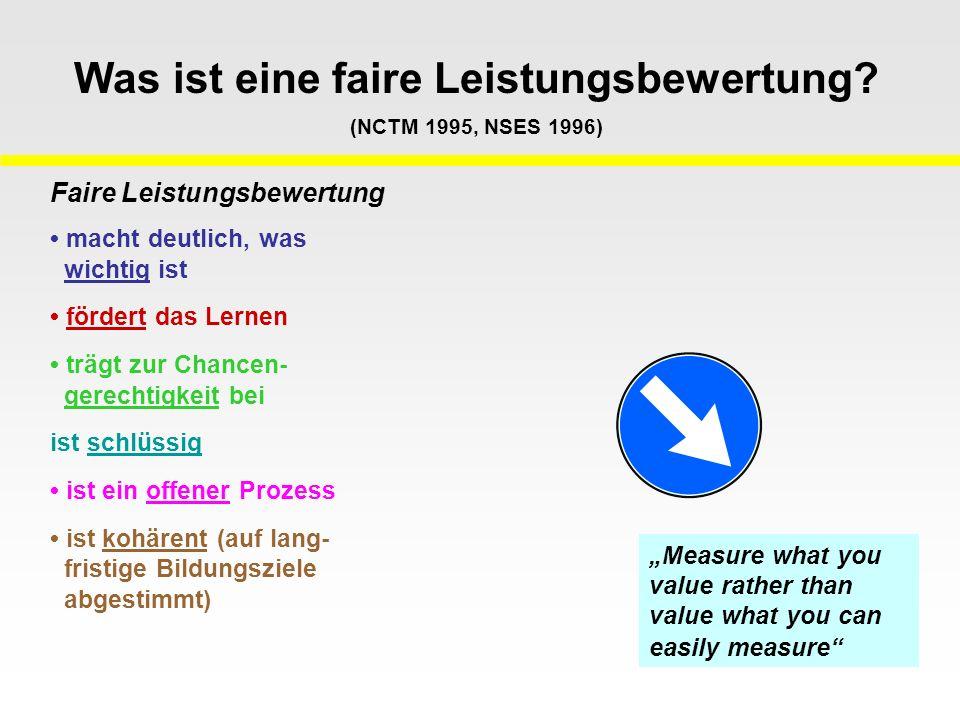 Was ist eine faire Leistungsbewertung? (NCTM 1995, NSES 1996) Faire Leistungsbewertung macht deutlich, was wichtig ist fördert das Lernen trägt zur Ch