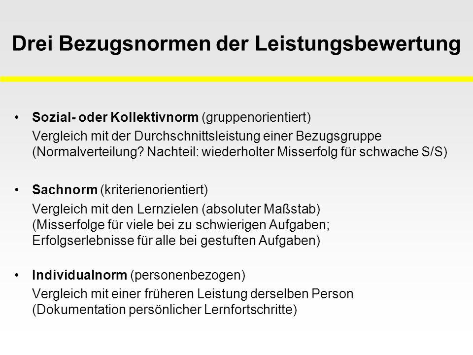 Funktionen von Leistungsbewertung (Kleber 1992, Häußler u.a.