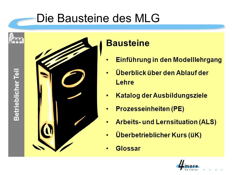 Betrieblicher Teil Bausteine Einführung in den Modelllehrgang Überblick über den Ablauf der Lehre Katalog der Ausbildungsziele Prozesseinheiten (PE) A