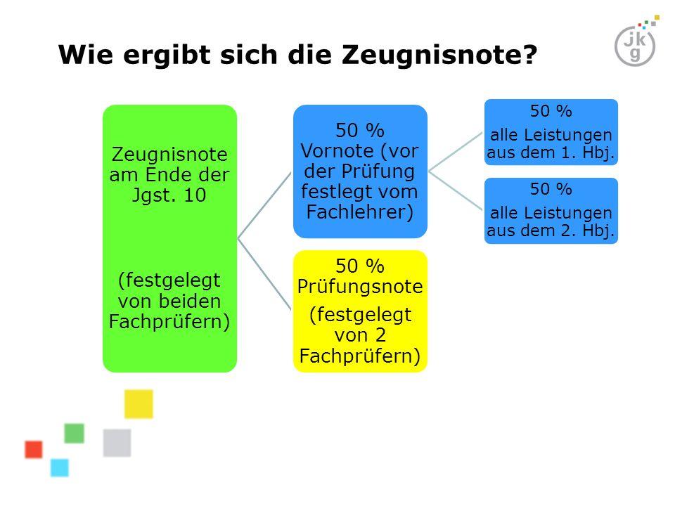 Zeugnisnote am Ende der Jgst. 10 (festgelegt von beiden Fachprüfern) 50 % Vornote (vor der Prüfung festlegt vom Fachlehrer) 50 % alle Leistungen aus d