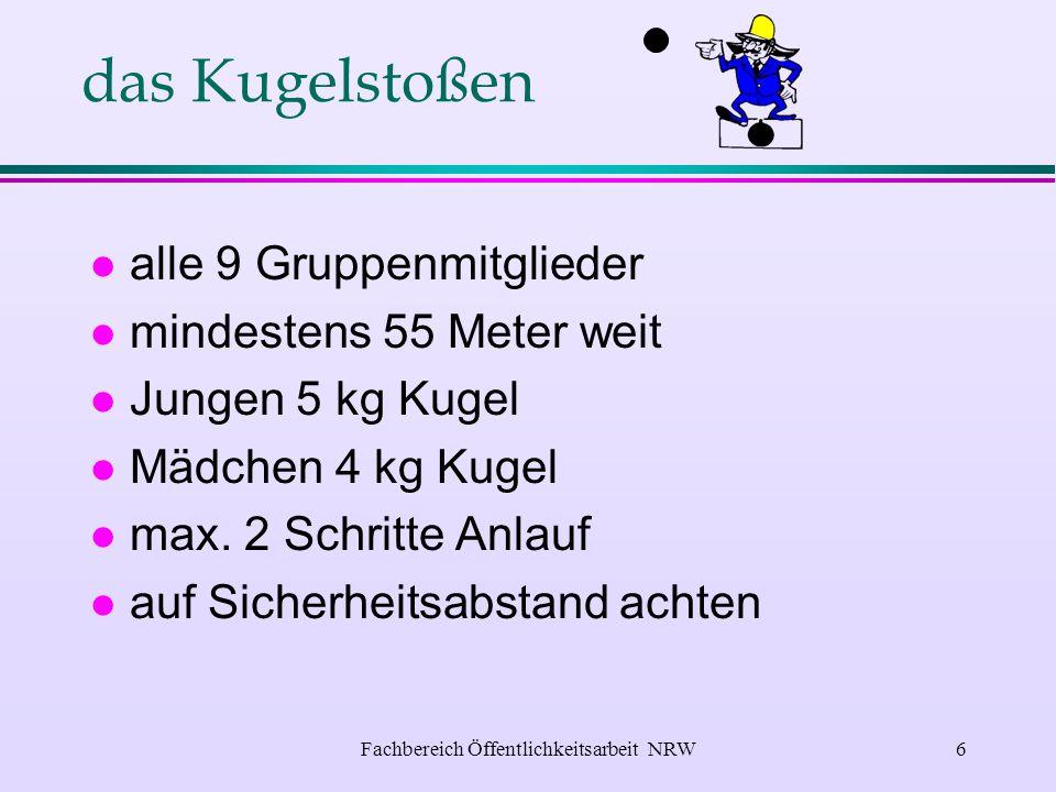 Fachbereich Öffentlichkeitsarbeit NRW5 die Schnelligkeitsübung l verlangt das vorschriftsmäßige Auslegen und Kuppeln von 8 doppelt gerollten C-Druckschläuchen.
