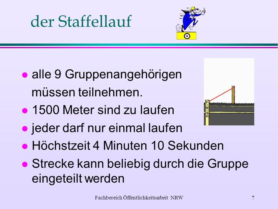 Fachbereich Öffentlichkeitsarbeit NRW6 das Kugelstoßen l alle 9 Gruppenmitglieder l mindestens 55 Meter weit l Jungen 5 kg Kugel l Mädchen 4 kg Kugel l max.