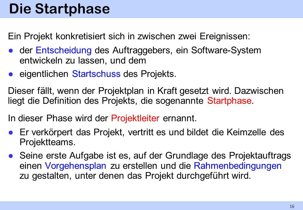 Die Startphase Ein Projekt konkretisiert sich in zwischen zwei Ereignissen: der Entscheidung des Auftraggebers, ein Software-System entwickeln zu lass