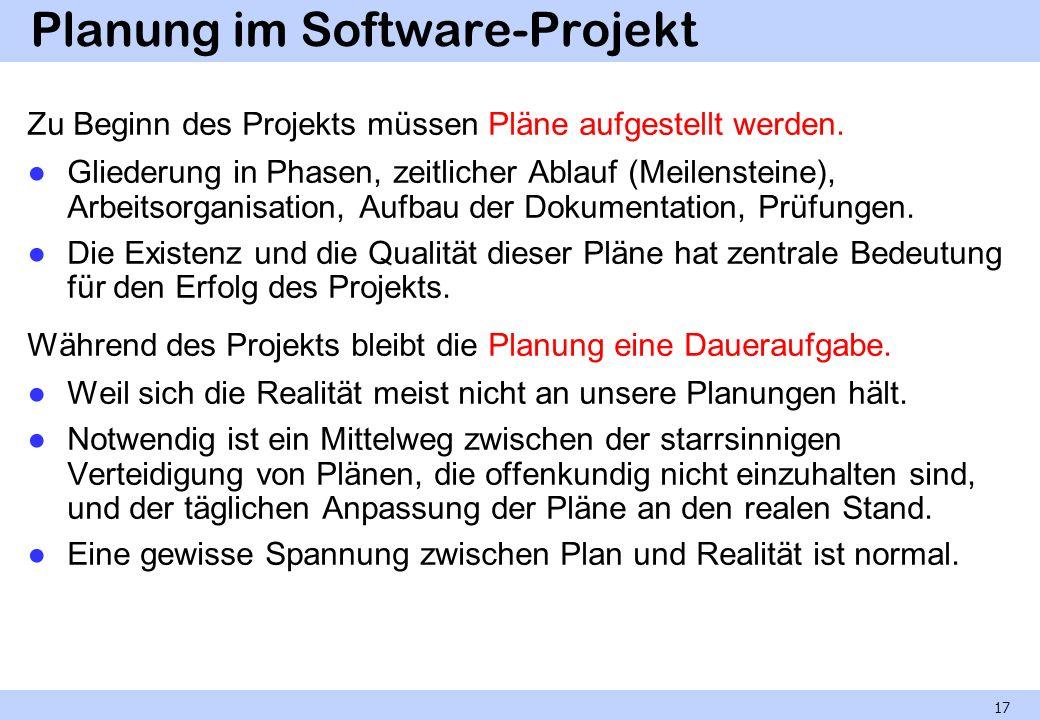 Planung im Software-Projekt Zu Beginn des Projekts müssen Pläne aufgestellt werden. Gliederung in Phasen, zeitlicher Ablauf (Meilensteine), Arbeitsorg