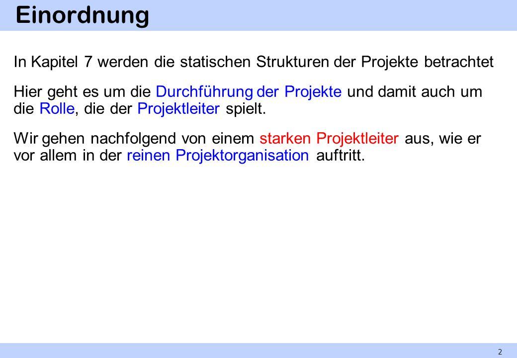 Einordnung In Kapitel 7 werden die statischen Strukturen der Projekte betrachtet Hier geht es um die Durchführung der Projekte und damit auch um die R
