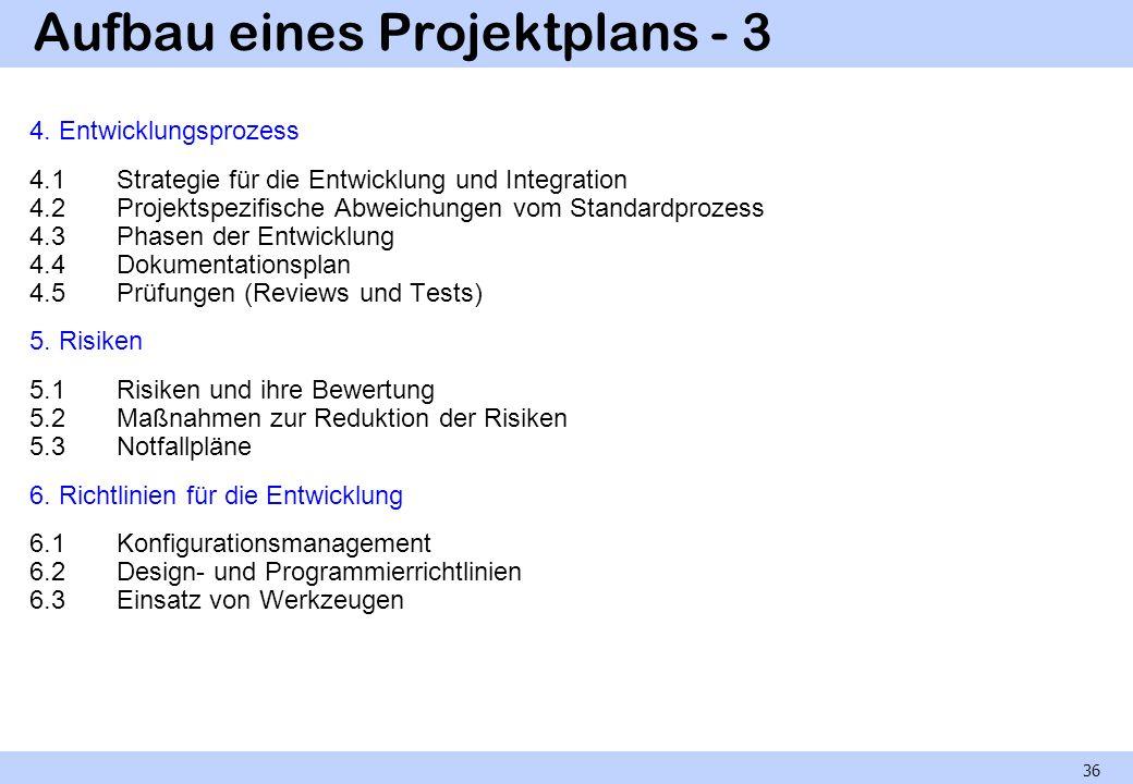 Aufbau eines Projektplans - 3 4. Entwicklungsprozess 4.1Strategie für die Entwicklung und Integration 4.2Projektspezifische Abweichungen vom Standardp