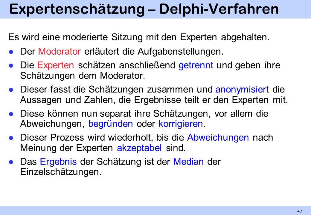 Expertenschätzung – Delphi-Verfahren Es wird eine moderierte Sitzung mit den Experten abgehalten. Der Moderator erläutert die Aufgabenstellungen. Die