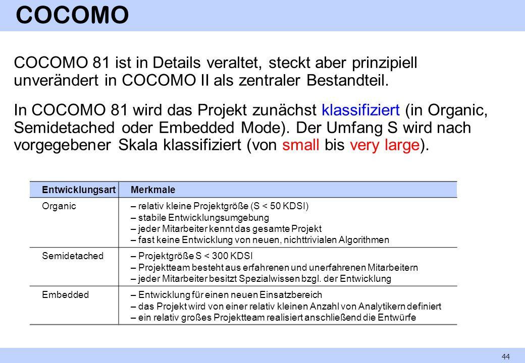 COCOMO COCOMO 81 ist in Details veraltet, steckt aber prinzipiell unverändert in COCOMO II als zentraler Bestandteil. In COCOMO 81 wird das Projekt zu