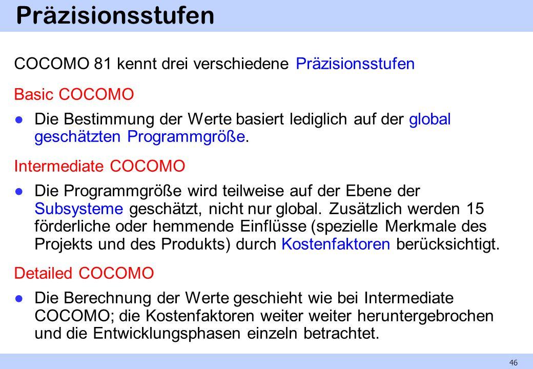 Präzisionsstufen COCOMO 81 kennt drei verschiedene Präzisionsstufen Basic COCOMO Die Bestimmung der Werte basiert lediglich auf der global geschätzten