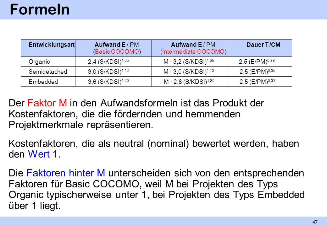 Formeln Der Faktor M in den Aufwandsformeln ist das Produkt der Kostenfaktoren, die die fördernden und hemmenden Projektmerkmale repräsentieren. Koste