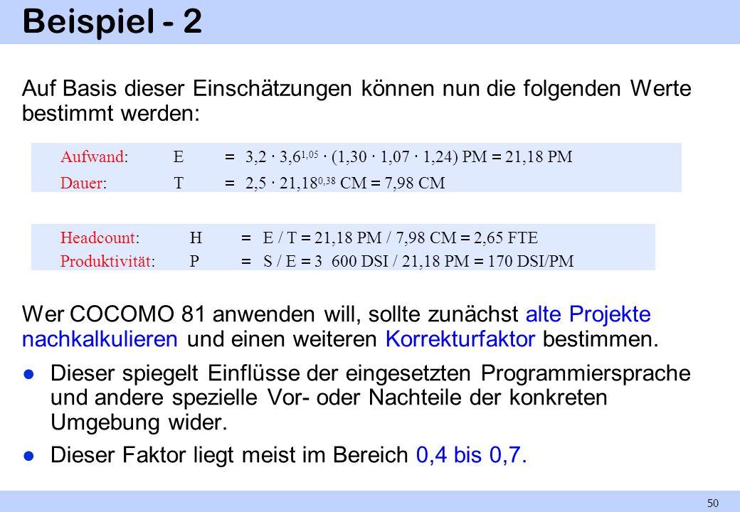 Beispiel - 2 Auf Basis dieser Einschätzungen können nun die folgenden Werte bestimmt werden: Wer COCOMO 81 anwenden will, sollte zunächst alte Projekt