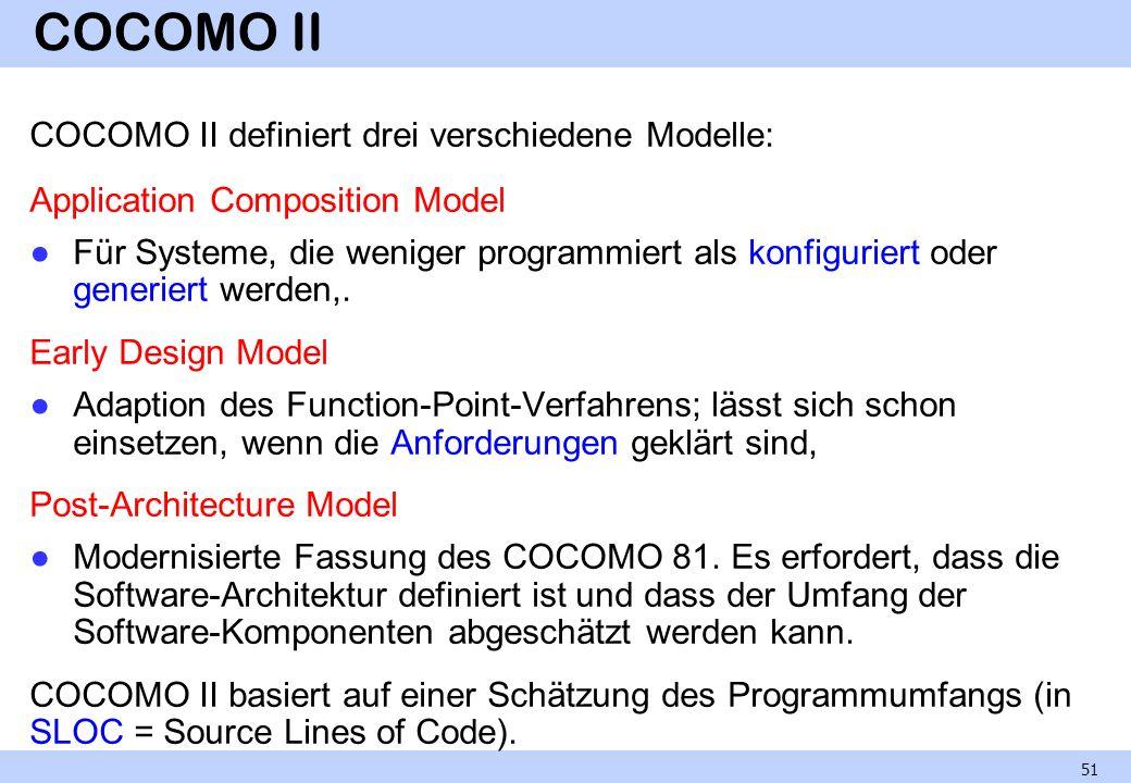 COCOMO II COCOMO II definiert drei verschiedene Modelle: Application Composition Model Für Systeme, die weniger programmiert als konfiguriert oder gen