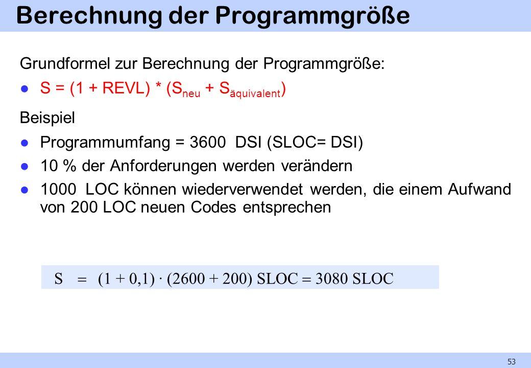 Berechnung der Programmgröße Grundformel zur Berechnung der Programmgröße: S = (1 + REVL) * (S neu + S äquivalent ) Beispiel Programmumfang = 3600 DSI